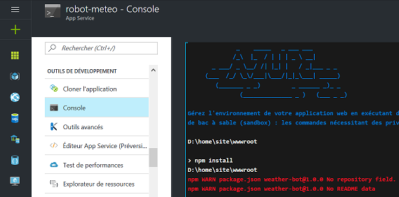 Installation des modules Node.js dans la console Azure