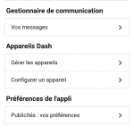 Menu de l'application Boutique Amazon
