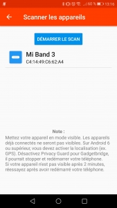 Association du Xiaomi Mi Band 3 à GadgetBridge